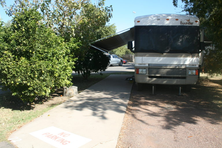 Large shaded RV sites with slabbed patios