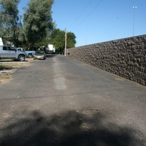 Privacy walls to provide security and reduce road noise.