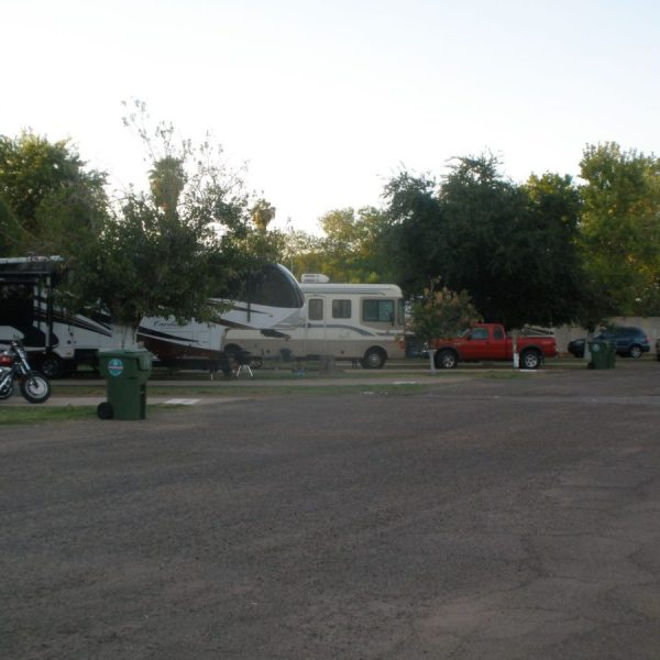 Covered Wagon RV Park pull-through sites with concrete patios